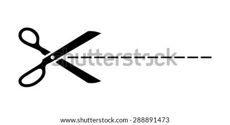 Vector scissors with cut line - stock vector