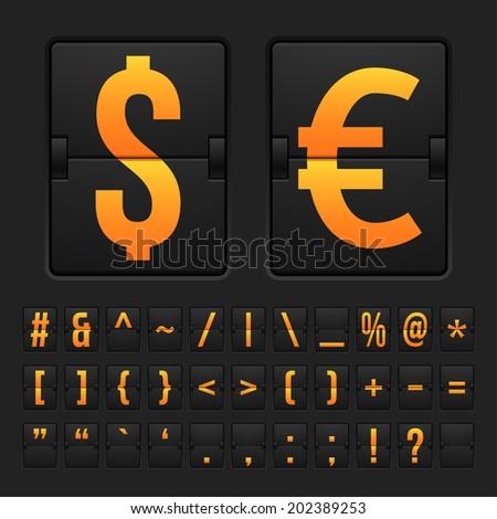 Vector scoreboard with symbols alphabet mechanical panel - stock vector