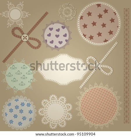 vector scrapbook design elements,  patterns can  be used separately: bows, button, napkins, and border - stock vector