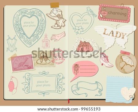 Vector Scrapbook Design Elements - Vintage Lady Set -  hand drawn in notepad - stock vector
