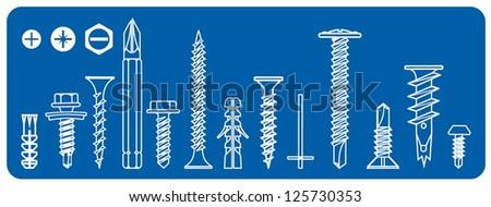 Vector Screws - stock vector