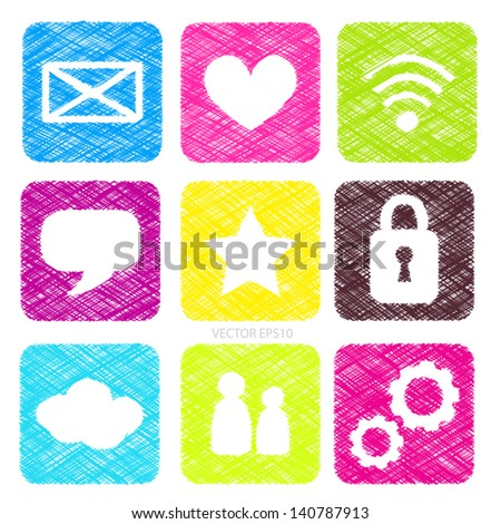 Vector scribble square colorful buttons - stock vector