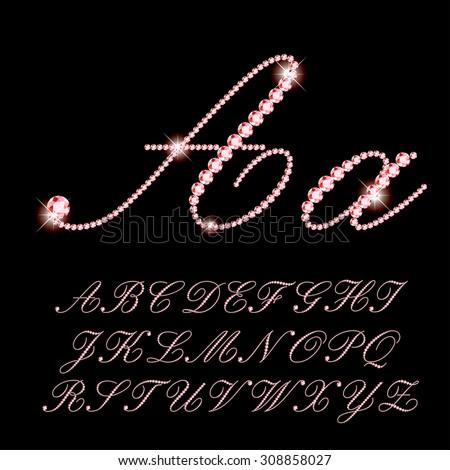 vector script alphabet with rubies - stock vector