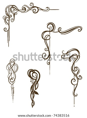 Vector Scroll Collection: Hand-drawn vintage style ornaments / scrolls - stock vector