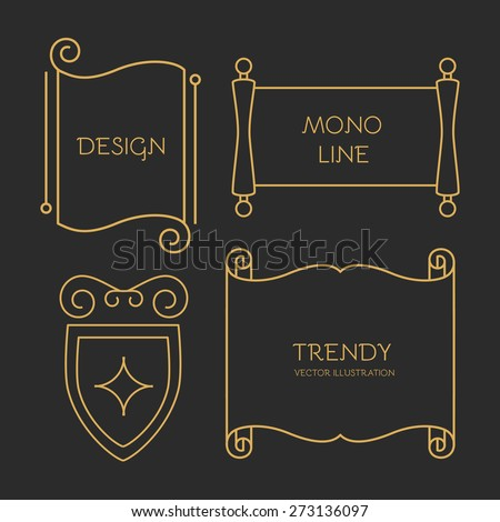 Vector scroll set in trendy mono line style. - stock vector