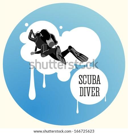 vector scuba diver in deep water and adjustment of buoyancy - stock vector