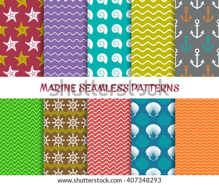 Vector sea and marine seamless patterns retro collection - stock vector