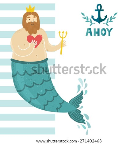 "Vector sea background with blue and white stripes, anchor, text ""Ahoy"" and funny bearded man. Childish summer backdrop with cute cartoon character. Template of Invitation. - stock vector"