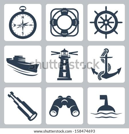 Vector sea icons set: compass, ring-buoy, steering wheel, ship, lighthouse, anchor, spyglass, binoculars, buoy - stock vector