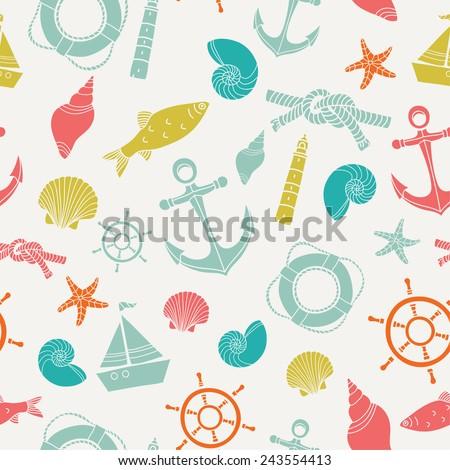 Vector sea seamless pattern. - stock vector