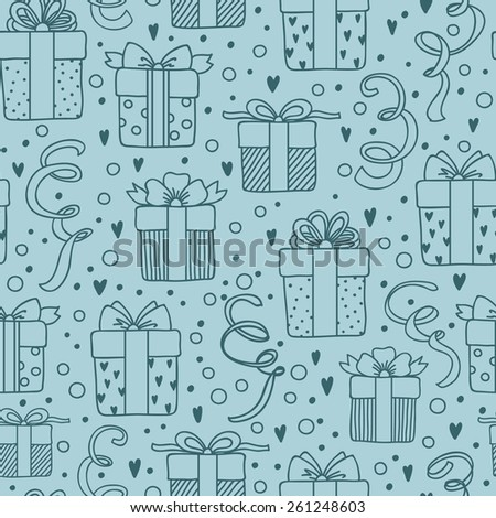 Vector seamless abstract birthday pattern, Gift boxes background. - stock vector