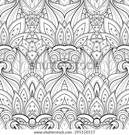 Vector Seamless Abstract Black and White Tribal Pattern. Hand Drawn Ethnic Texture, Flight of Imagination - stock vector