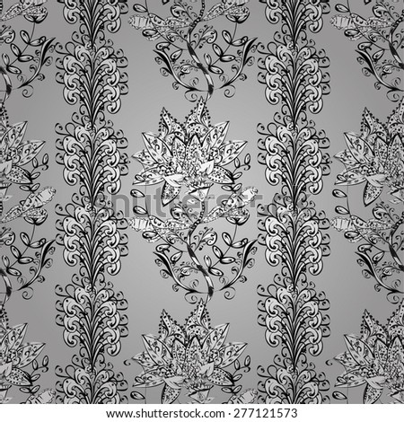 vector seamless abstract floral pattern, monochrome, grey background - stock vector