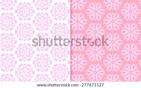 Vector Seamless Abstract Floral Pattern Set - stock vector