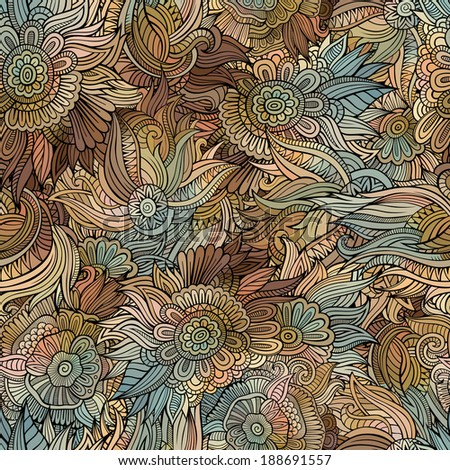 Vector seamless abstract flowers pattern. Endless background. - stock vector