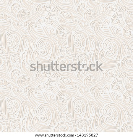 Vector seamless abstract hand-drawn pattern with wave - stock vector