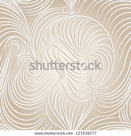 Vector seamless abstract hand-drawn pattern with waves - stock vector
