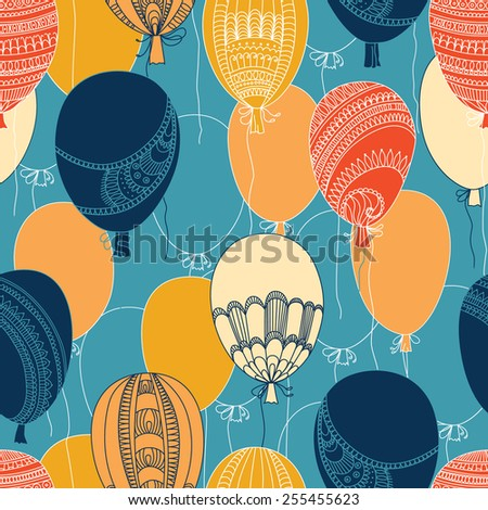 Vector seamless abstract pattern, flying colorful balloons - stock vector
