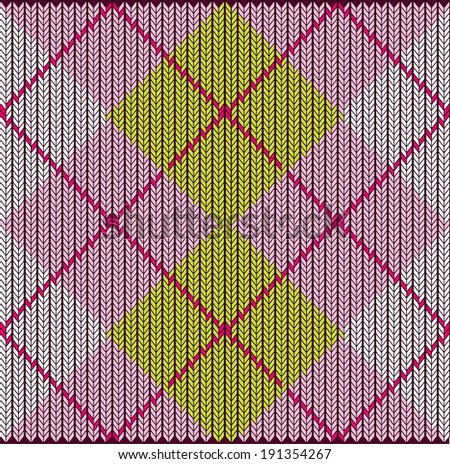 Vector Seamless Argyle Sweater Background, Detailed - stock vector