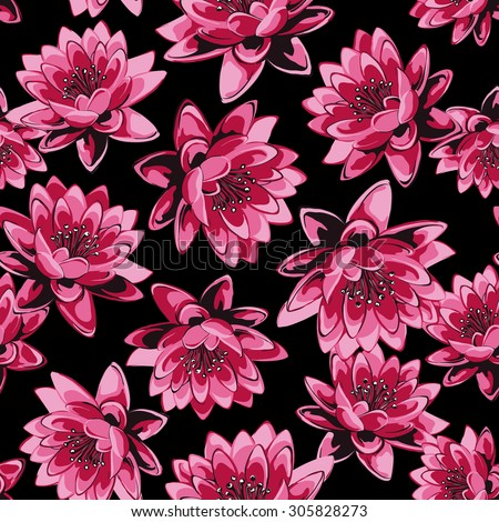 vector seamless artistic realistic lotus flower pattern. spring summer time. gentle, romantic, feminine print. contrast floral background. - stock vector