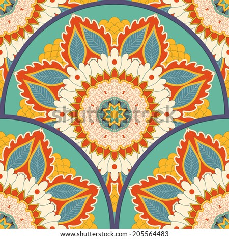 Vector seamless background. Beautiful floral round ornament in vintage style.  - stock vector