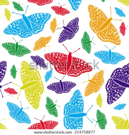 Vector seamless background. Butterfly. - stock vector