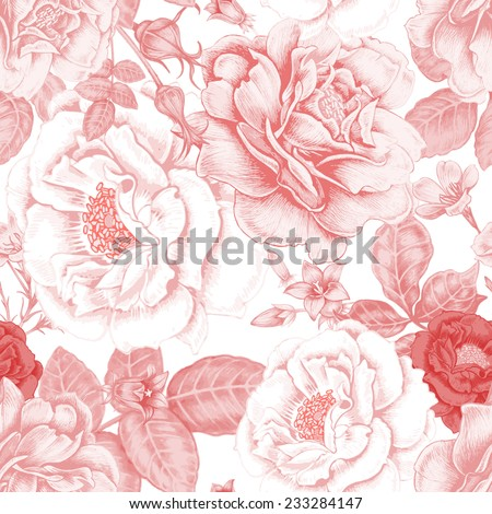 Vector seamless background. Design for fabrics, textiles, paper, wallpaper, web. Roses, peonies, anemones, bluebells. Retro. Vintage style. - stock vector