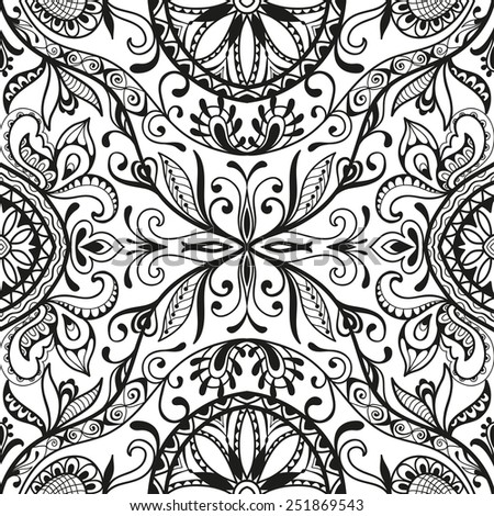 Vector seamless background, detailed lace pattern, tribal ethnic ornament, fabric texture, hand drawn fashion artwork. Black and white - stock vector