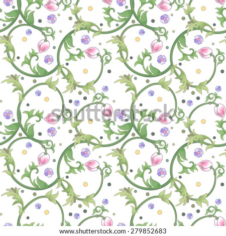Vector seamless background. Lotus flowers and leaves are painted by watercolor. Imitation of chinese porcelain painting.  - stock vector