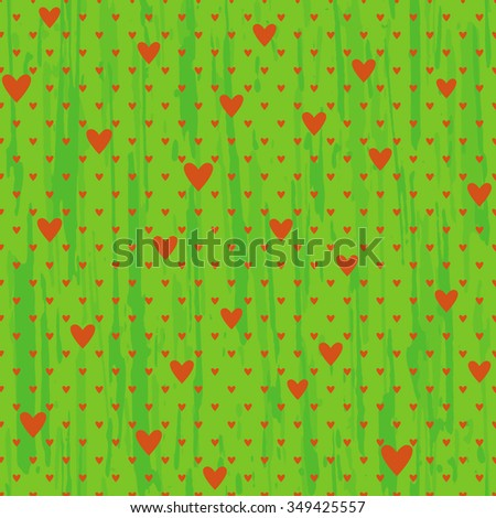 Vector seamless background of hearts of different size on a green background. - stock vector