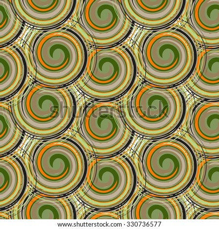 Vector seamless background of spiral elements. Create a bright colored spiral pattern in retro style. A background rich with a retro for a brown paper, walls, backgrounds. - stock vector