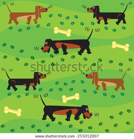 Vector seamless  background with a funny dogs and tracks in  green grass. - stock vector