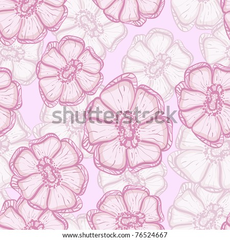 vector seamless background with abstract sakura flowers, clipping masks - stock vector