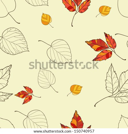 Vector seamless background with autumn leaves - stock vector