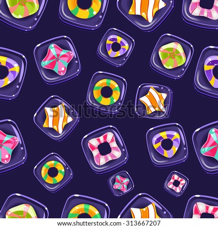 Vector seamless background with colorful Halloween candies  - stock vector