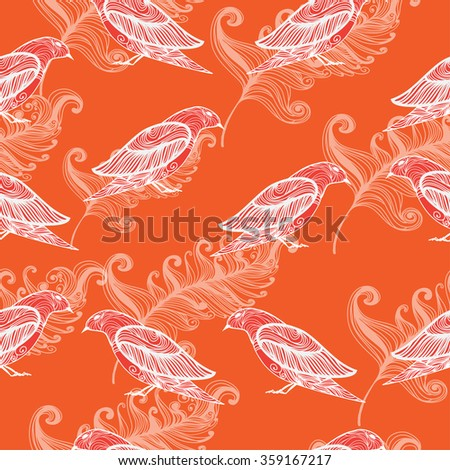 vector seamless background with decorative birds and feathers - stock vector