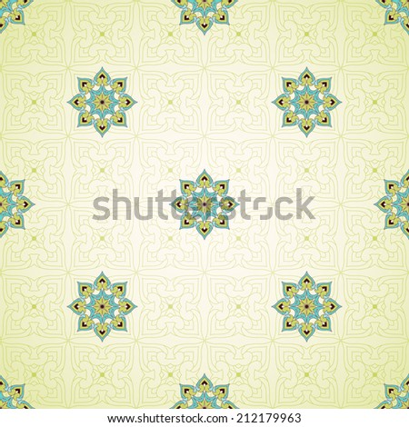 Vector seamless background with floral pattern. Simple delicate ornament. - stock vector