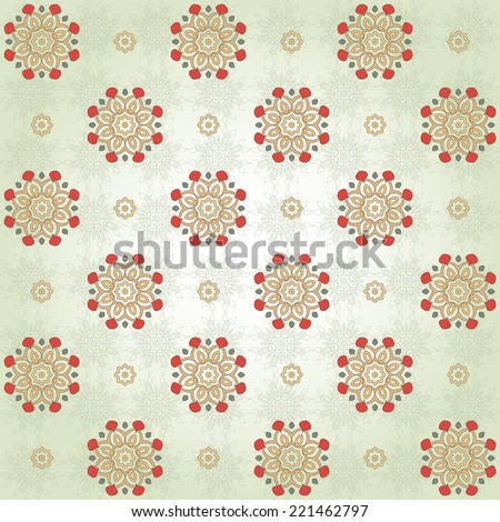 Vector seamless background with floral pattern. Simple delicate ornament with round elements. - stock vector