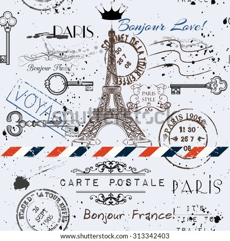 Vector seamless background with flower Eiffel tower and post stamps imitation of vintage postcard in grunge style - stock vector