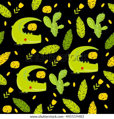 Vector seamless background with green cartoon crocodile, flowers, cactus, foliage. Bright multicolored pattern. Safari, Africa, the Indian jungle. - stock vector