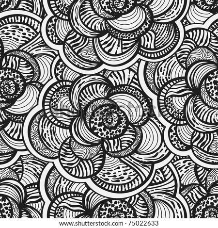 vector seamless background with  monochrome abstract flowers, clipping mask - stock vector