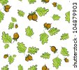 vector seamless background with oak leaves and acorns - stock vector