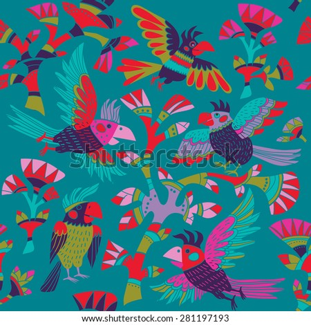 Vector seamless background with parrots and flowers - stock vector