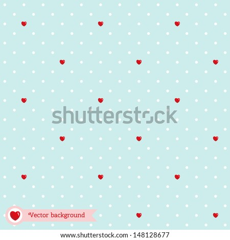 Vector seamless background with polka dots and hearts. Wedding or Valentine's Day.  - stock vector