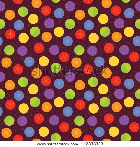 Vector seamless background with textured vintage dots. Grunge layer can be turned off. Use for textiles, surface textures, scrap-booking, gift wrap. See my folio for other colors and for JPEG version. - stock vector