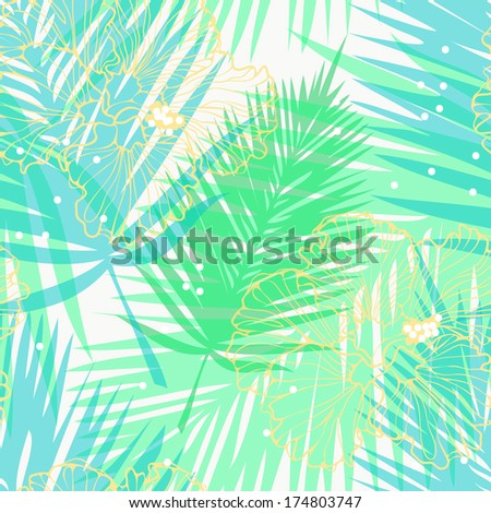 vector seamless background with tropic leaves - stock vector
