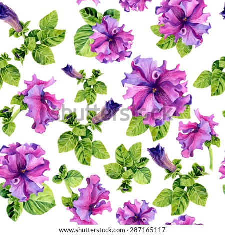 Vector seamless background with watercolors lilac petunia on white background. Lovely realistic garden flowers. Perfect for manufacture wrapping paper, textile, web design. - stock vector