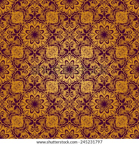 Vector seamless baroque damask luxury background - stock vector