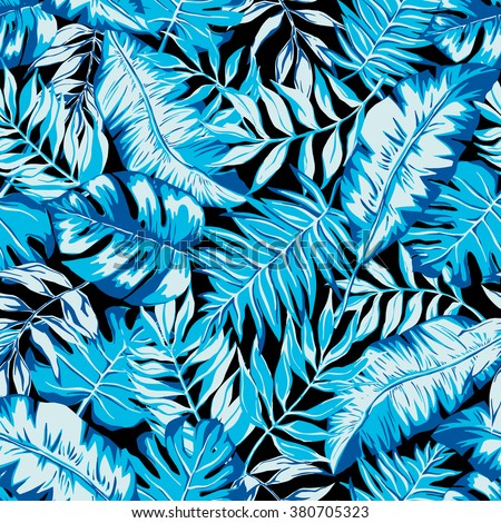 vector seamless beautiful artistic bright tropical pattern with banana leaf, fern frond, split leaf, philodendron, summer beach fun, colorful original stylish floral background print, fantastic forest - stock vector
