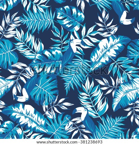 vector seamless beautiful artistic graphical tropical pattern, colorful summer rain forest nature, philodendron split leaf, banana leaf, fern frond, toucan bird, stylish active tropic background print - stock vector